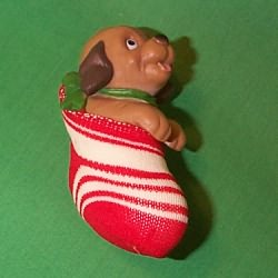 1981 Dog In Stocking - Ambassador Hallmark Ornament