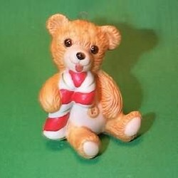 1985 Cinnamon Bear #3 - With Candy Cane Hallmark Ornament