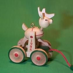 1986 Wood Childhood #3 - Reindeer Hallmark Ornament