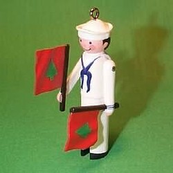 1987 Clothespin Soldier #6f - Sailor Hallmark Ornament
