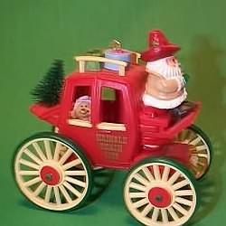1988 Here Comes Santa #10 - Kringle Koach Hallmark Ornament