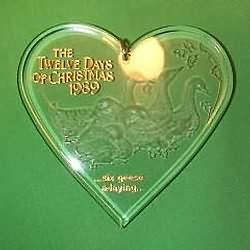 1989 12 Days Of Christmas #6 - Geese A Laying Hallmark Ornament