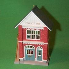 1991 Nostalgic Houses #8 -  Fire Station Hallmark Ornament