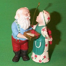 1992 Mr. And Mrs. Claus #7 - Gift Exchange Hallmark Ornament