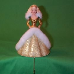 1995 Holiday Barbie Gold Dress - Stocking Hanger Hallmark Ornament
