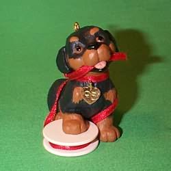 1995 Puppy Love #5 - Rottweiler - NB Hallmark Ornament