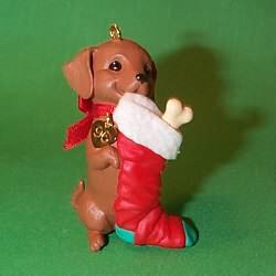 1996 Puppy Love #6 - Dachshund - NB Hallmark Ornament