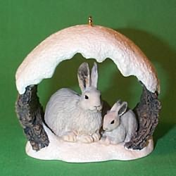 1997 Majestic Wilderness #1 - Snow Rabbits Hallmark Ornament