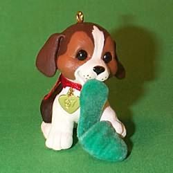 1997 Puppy Love #7 - Beagle - NB Hallmark Ornament