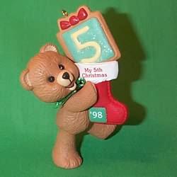 1998 Child's 5th Christmas - Bear Hallmark Ornament
