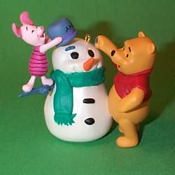 1998 Winnie The Pooh - Build A Snowman Hallmark Ornament