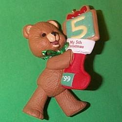 1999 Child's 5th  Christmas- Bear Hallmark Ornament