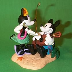 1999 Disney - Mickey And Minnie In Paradise Hallmark Ornament