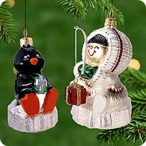 2000 Frosty Friends - Blown Glass Hallmark Ornament