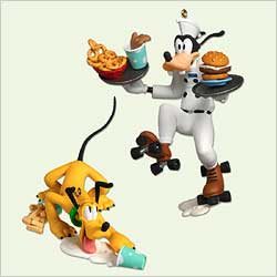 2005 Disney - Order Up!  Goofy And Pluto Hallmark Ornament